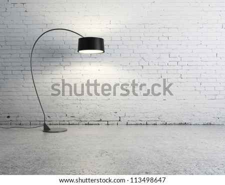 floor lamp in brick room