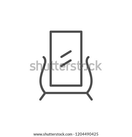 Floor mirror line icon isolated on white