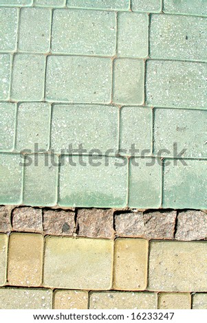 Floor of granite paving stone.