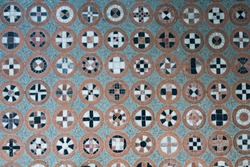 Floor pattern. Different symbols in round shapes