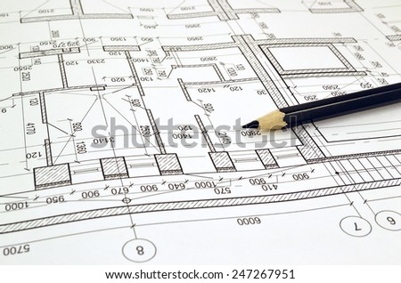 Floor plan designed building on the drawing