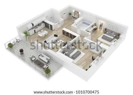 Floor plan top view. Apartment interior isolated on white background. 3D render Сток-фото ©