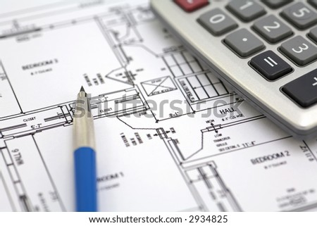 Floor Plan With Calculator And Pencil On White Background