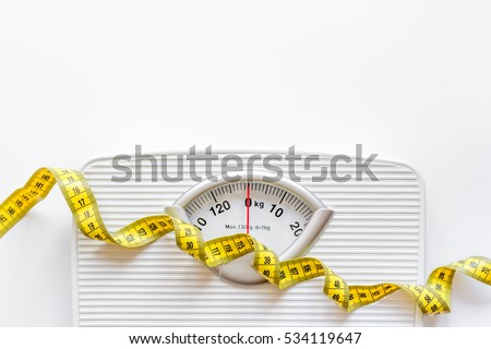 floor scale and centimeter to measure white background top view