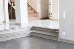 floor, stairs and handmade oak railings in the house