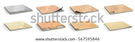 Floor types coating. Flooring Installation. Set of pieces of different floor coating. Parquet, laminate, wooden plank, tiles, concrete. 3d illustration #567595846