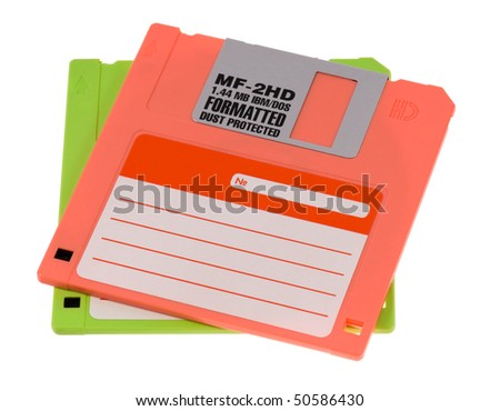 Floppy disk magnetic computer data storage support isolated over white background