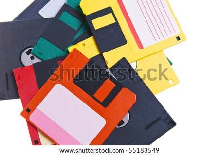 Floppy disks are on a white background