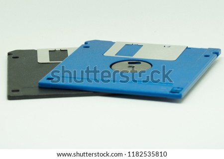 Floppy disks or diskette in white background. It is  is a type of disk storage composed of a disk.