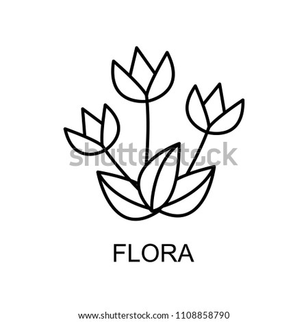 flora outline icon. Element of enviroment protection icon with name for mobile concept and web apps. Thin line flora icon can be used for web and mobile on white background