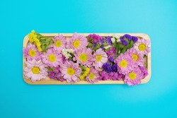 Flora sweet tray : Pink and Purple flora in wooden craft tray : Flora, flower, Pink, Purple, wooden tray, screen, background, decoration
