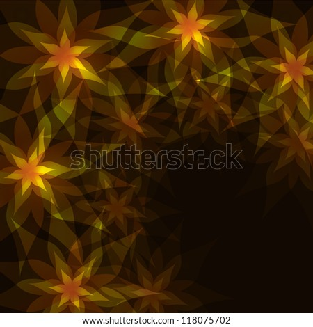 Floral abstract background golden - black with flowers lilies and decorative pattern. Greeting or invitation card in retro or grunge style.