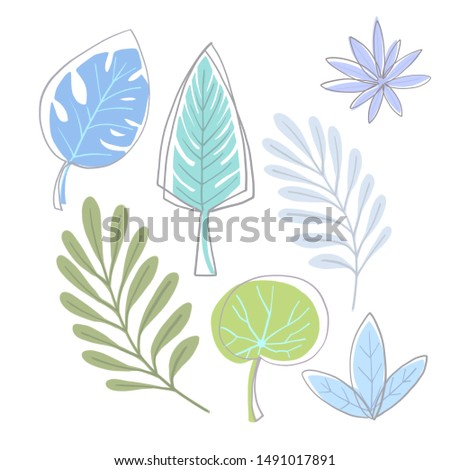 Floral abstract design set in hand drawn style. Sketch style. Scandinavian style. Digital illustration in pastel colors on white background.