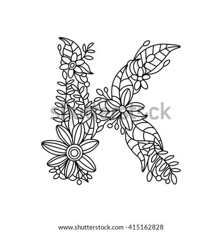 Floral Alphabet Letter Coloring Book For Adults Raster Illustration 415162828