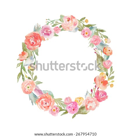 Floral Alphabet Monogram Letter O Made of Flowers. Watercolor Flower Wreath