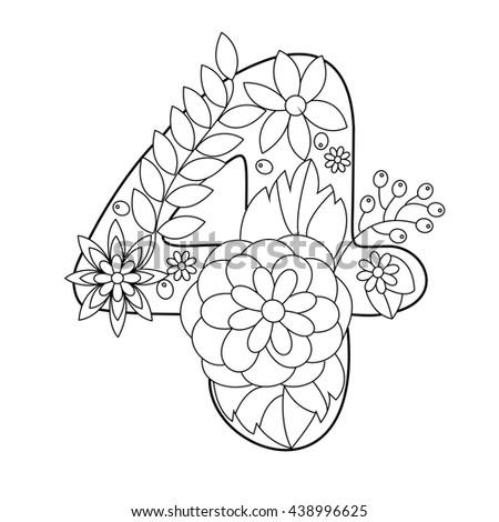 Floral Alphabet Number Coloring Book For Adults Raster Illustration