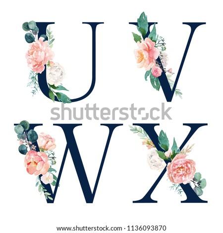 Floral Alphabet Set Set Of Navy Letters U V W X With Flowers