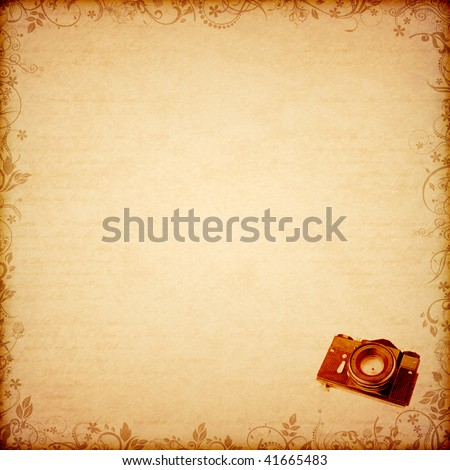 floral ancient pattern print old camera stamp - stock photo