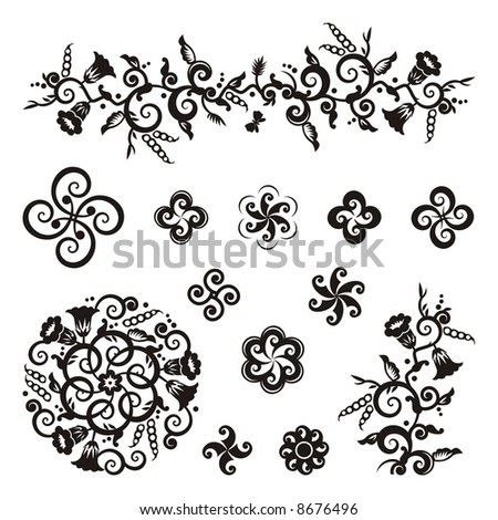 Floral and geometric pattern design elements with bindweed vines, ipomoea flowers and pea pods ( for vector EPS see image 8677078 )