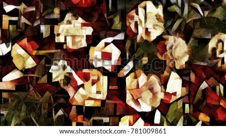 Floral arrangement. Abstraction is made in a modern cubism style oil painting on canvas.