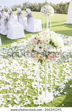 Floral arrangement at a wedding ceremony #266341241