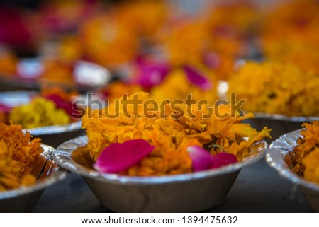 Floral Arrangement For Festival And Religious Offerings In India
