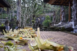 floral arrangement in Balinese hindi temple