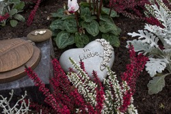 Floral arrangement on a grave with colorful heather and cyclamen flowers, heart-shaped stone,