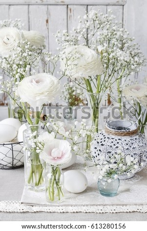 Floral arrangement with ranunculus flowers and white gypsophila floral arrangement with ranunculus flowers and white gypsophila paniculata mightylinksfo