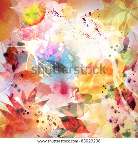 Floral autumn design, watercolor painting