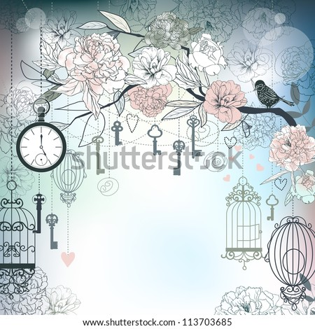 Floral background. Birds, cages, clock, keys, peonies.