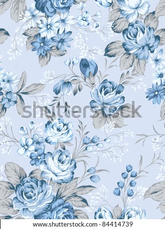 floral background , element for blue design pattern - stock photo