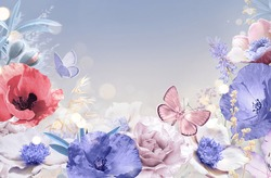 Floral background for congratulations in gentle pastel light pink and purple colors. Flowers anemones, poppies and butterfly with author's toning.