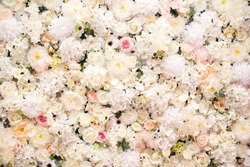 Floral background. Mix flowers, pink and white peonies, roses, hydrangea. floral background