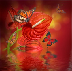 Floral background of red flowers