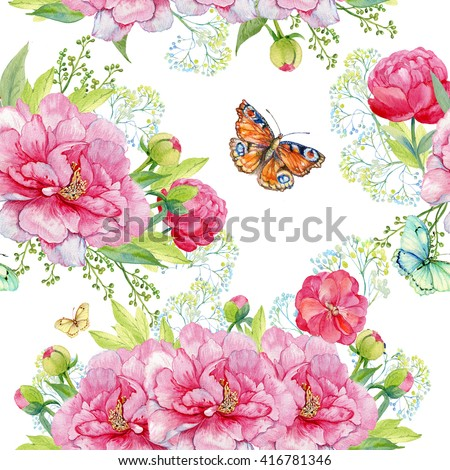 floral background. seamless pattern.the ornament of the flower.beautiful flowers and butterfly. handmaid . watercolor.Seamless pattern for fabric,Wallpaper