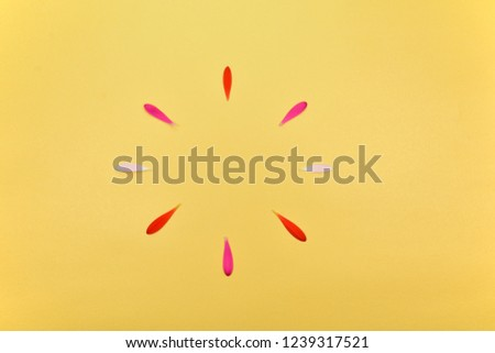 Floral background. Spring floral background with space for text. Flower of pink petals on a yellow background. #1239317521