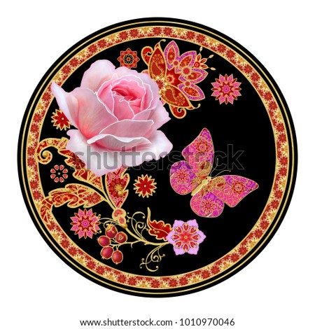 Floral background. The round shape, the circle. Garland flower pink rose. Openwork delicate lace, golden weaving, pearl. Decorative decoration, paisley element, butterfly jewelery.