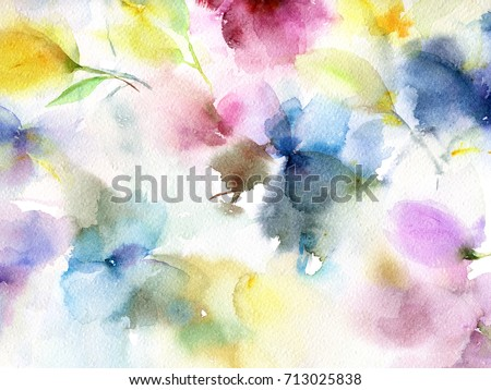 Floral background. Watercolor floral background. Greeting card. Wedding invitation template. Floral card. Abstract flowers. Wedding bouquet. Watercolor floral wall art painting for home decor. #713025838