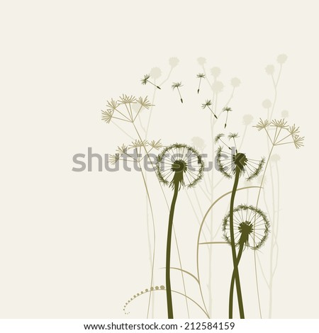 Floral background with dandelions - illustration
