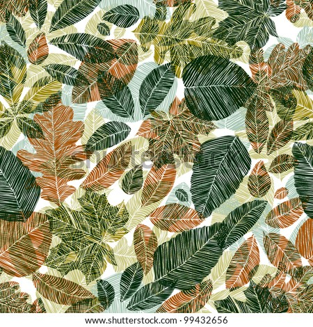 Floral background with different leaves, seamless pattern.