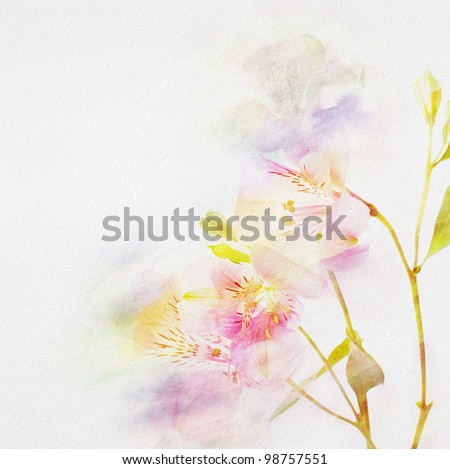 floral background with watercolor flowers.