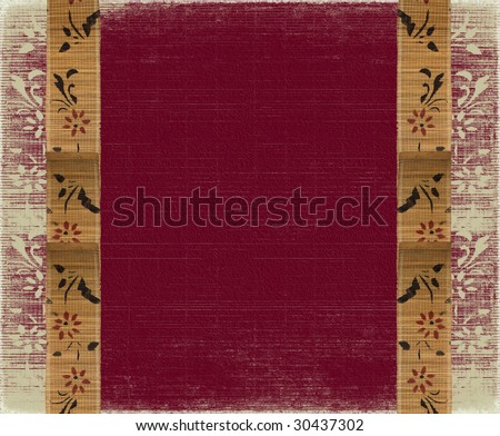 floral bamboo banner frame on red background