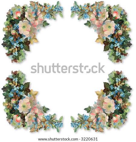 Floral border and frame - patterned after an 1895 vintage illustration
