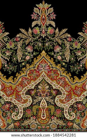 Floral border for textile print on black with amazing colours