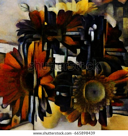 Floral bouquet arrangement with gerberas. Designed in a modern style of cubism. Oil on canvas with elements of watercolor painting. Painting in the style of Edvard Munch