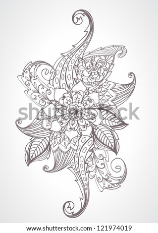 Floral bright doodle illustration for your design