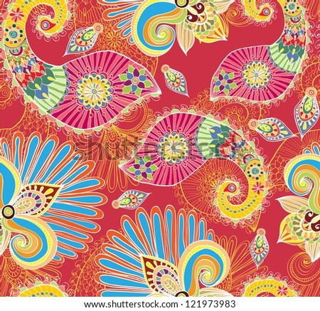 Floral bright seamless pattern with doodle flowers and paisley, illustration