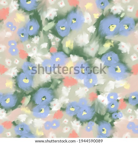Floral brush strokes seamless pattern. Blurred botanical Hand drawn nature background made of meadow flowers. Flower buds blooming. Trendy mixed design