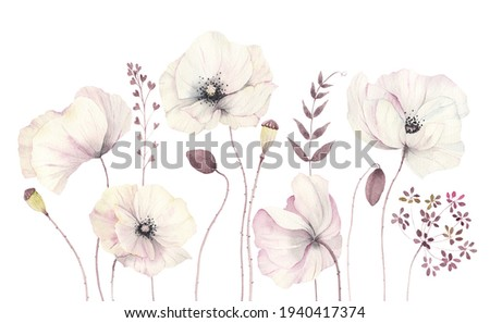 Floral card with delicate poppies, watercolor isolated illustration flowers and branches, border, banner, template for invitation or greeting card. Foto stock ©